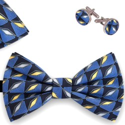 Bow Tie, Handkerchief and Cufflinks Set,  butterfly, silk satin, multicolor, semi shiny look, geometric forms, handmade, smart casual