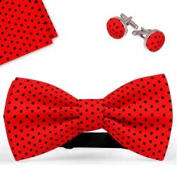 Bow Tie, Handkerchief and Cufflinks Set, red, butterfly, silk satin, with model, shiny, blacksmall dots, handmade