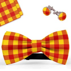 Bow Tie, Handkerchief and Cufflinks Set, red, butterfly, silk satin, with model, shiny, yellow geometric forms, handmade