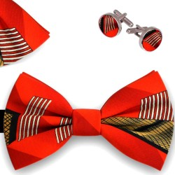Bow Tie, Handkerchief and Cufflinks Set, red, butterfly, silk satin, with model, non-shiny, geometric forms, handmade