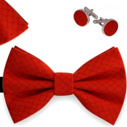 Bow Tie, Handkerchief and Cufflinks Set, red, butterfly, silk satin, with model, non-shiny, slim stripes, handmade