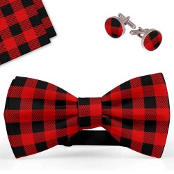 Bow Tie, Handkerchief and Cufflinks Set, red, butterfly, silk satin, with model, shiny, black geometric forms, handmade