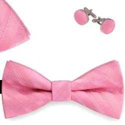 Bow Tie, Handkerchief and Cufflinks Set, pink, classic, silk satin, uni, semi shiny look, pink oblique thin stripes, handmade, elegant