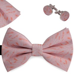 Bow Tie, Handkerchief and Cufflinks Set, pink, butterfly, silk satin, with model, semi shiny look, white lines, handmade