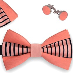Bow Tie for Men, pink, butterfly, microfiber, with model, mother of pearl, black paralel slim stripes, handmade, smart casual