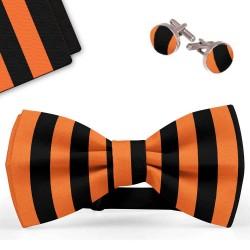 Bow Tie, Handkerchief and Cufflinks Set, orange, butterfly, silk satin, with model, shiny, black vertical wide stripes, handmade