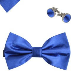Bow tie, handkerchief and cufflinks, elegant adjustable handmade blue one-coloured set