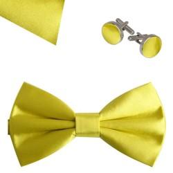 Butterfly bow tie, handkerchief and cufflinks, elegant adjustable handmade yellow one-coloured set