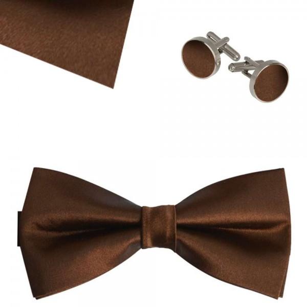 Classic bow tie, handkerchief and cufflinks, elegant adjustable handmade brown one-coloured set