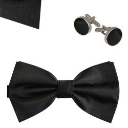 Bow Tie, Handkerchief and Cufflinks Set, black, butterfly, silk satin, uni, shiny, handmade