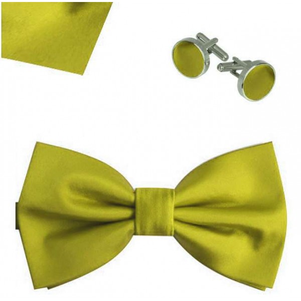 Butterfly bow tie, handkerchief and cufflinks, elegant adjustable handmade olive green one-coloured set