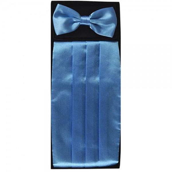 Bow tie, handkerchief & cummerbund light blue smart handmade set