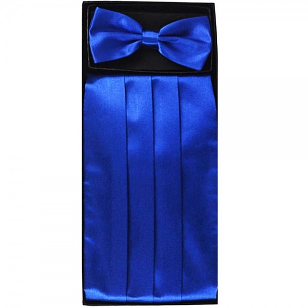 Bow tie, handkerchief & cummerbund smart handmade blue set