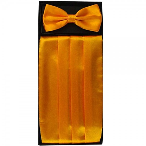 Bow tie, handkerchief & cummerbund smart handmade yellow set