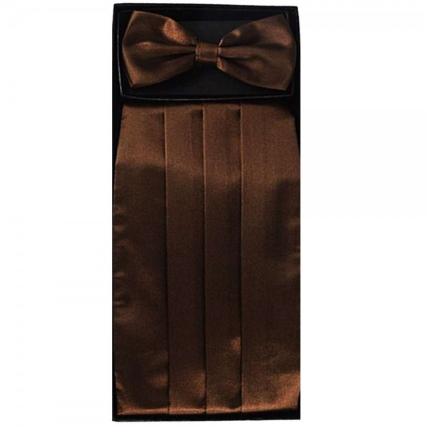Bow tie, handkerchief & cummerbund smart handmade brown set