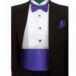 Bow tie, handkerchief & cummerbund smart handmade dark purple set