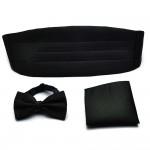 Bow tie, handkerchief & cummerbund smart handmade black set
