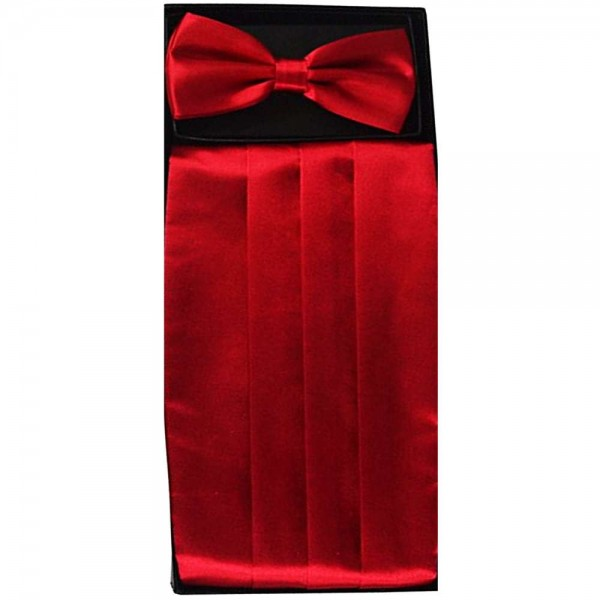 Bow tie, handkerchief & cummerbund smart handmade red set