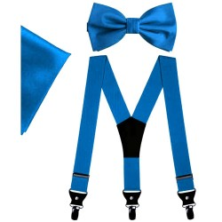 Light blue bow tie and suspenders