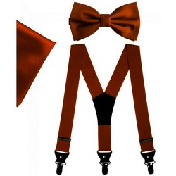 Brown bow tie and suspenders