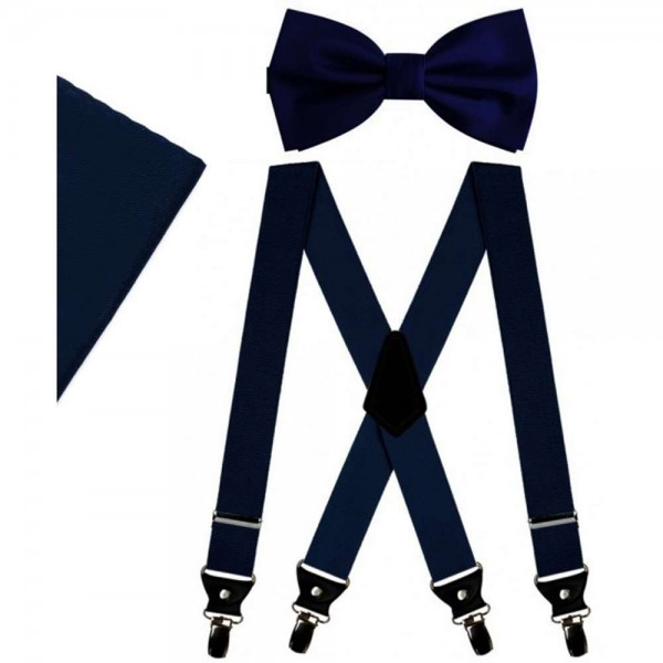 Dark blue bow tie and suspenders