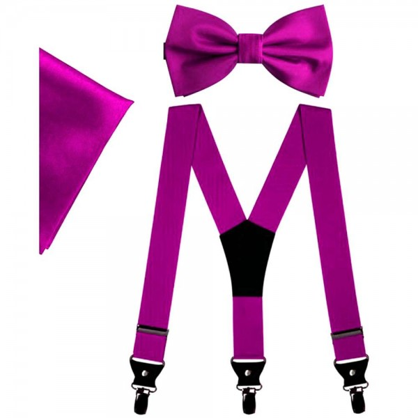 Pink bow tie and suspenders