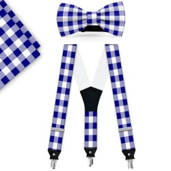Bow Tie, Suspenders, Handkerchief Set, blue, with model, white small geometric forms, handmade