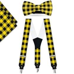 Bow Tie, Suspenders, Handkerchief Set, yellow, with model, black small geometric forms, handmade