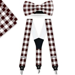 Bow Tie, Suspenders, Handkerchief Set, brown, with model, white small geometric forms, handmade