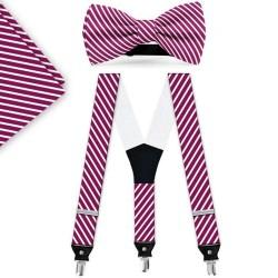 Bow Tie, Suspenders, Handkerchief Set, purple, with model, white thin stripes, handmade