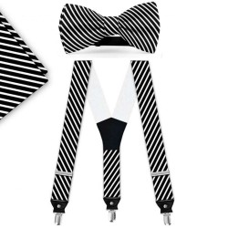 Bow Tie, Suspenders, Handkerchief Set, black, with model, white thin stripes, handmade
