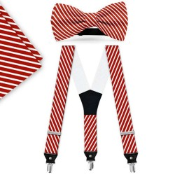Bow Tie, Suspenders, Handkerchief Set, red, with model, white thin stripes, handmade