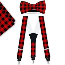 Bow Tie, Suspenders, Handkerchief Set, red, with model, black small geometric forms, handmade