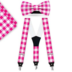 Bow Tie, Suspenders, Handkerchief Set, pink, with model, white small geometric forms, handmade