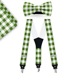 Bow Tie, Suspenders, Handkerchief Set, green, with model, white small geometric forms, handmade
