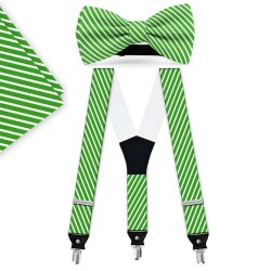 Bow Tie, Suspenders, Handkerchief Set, green, with model, white thin stripes, handmade