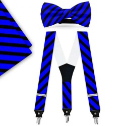 Bow Tie, Suspenders, Handkerchief Set, blue, with model, black wide stripes, handmade