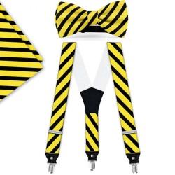 Bow Tie, Suspenders, Handkerchief Set, yellow, with model, black wide stripes, handmade