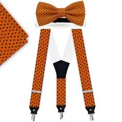 Bow Tie, Suspenders, Handkerchief Set, orange, with model, black small dots, handmade