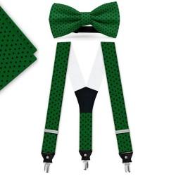 Bow Tie, Suspenders, Handkerchief Set, green, with model, black small dots, handmade