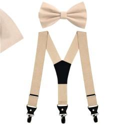 Bow Tie, Suspenders, Handkerchief Set, beige, uni, handmade