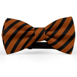 Bow Tie for Men, brown, butterfly, silk satin, with model, metallic, black stripes, handmade