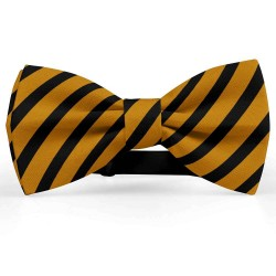 Bow Tie for Men, brown, butterfly, silk satin, with model, shiny, black oblique wide stripes, handmade
