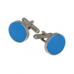 Cufflinks, silk, azure blue