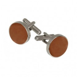 Cufflinks, silk, brown