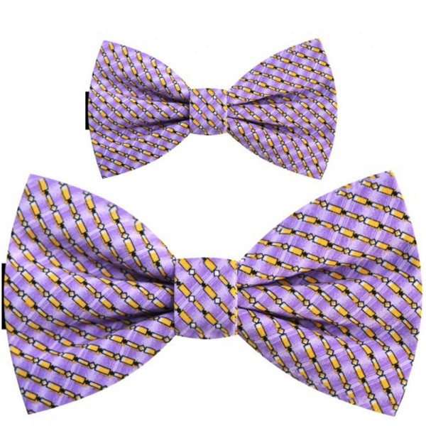 Father and son bow ties, pre-tied handmade purple set, geometric yellow pattern