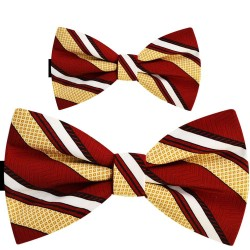 Father and son bow ties, handmade Bordeaux red set, yellow and white stripes