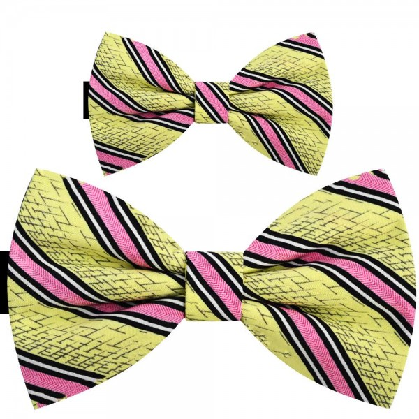 Father and son bow ties, handmade yellow set, pink stripes