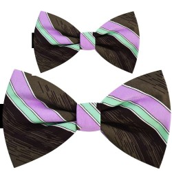 Father and son bow ties, handmade brown set, lilac mauve, white and green stripes