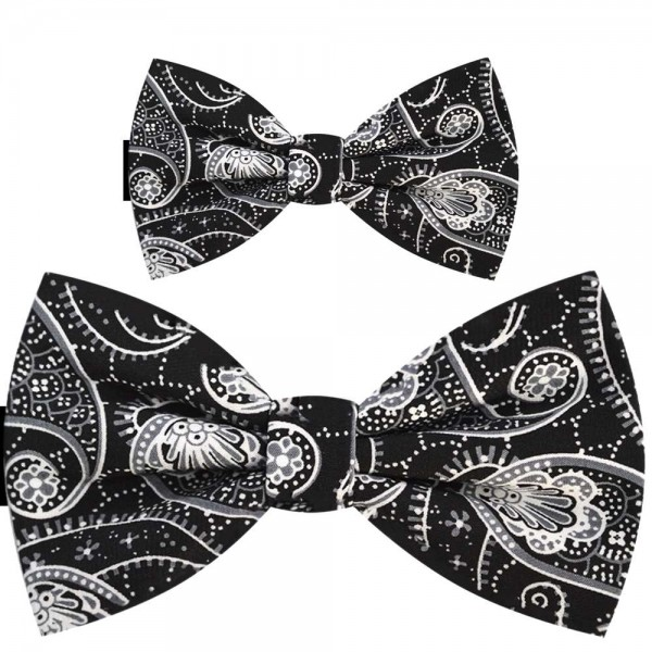 Father and son bow ties, pre-tied handmade black set, floral white pattern